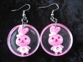 Kawaii earrings, pink bunny, on transparent resin background