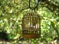 Gold bird cage fantaisie pendant
