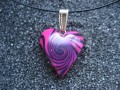 Black/fushia spiral small heart pendant