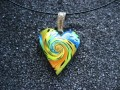Multicolored spiral heart pendant
