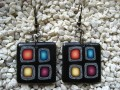 Black/multicolored pop fimo earrings