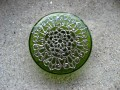 Large ring, Silver Mandala print, on a green resin background