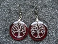Zen earrings, Silver tree of life, on red resin background