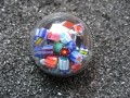 Ring large dome, multicolored mobile cubic pearls
