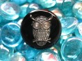 Fancy ring, silver owl, on black resin