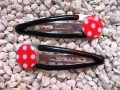 Red/white peas two Hair Clips
