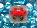 Large square ring, red lobster, on resin sand background