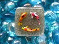 Large square ring, round fish, on sand resin background