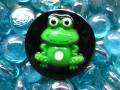 Very large Kawaii ring, Cartoon Frog, on black resin