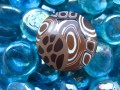 RING graphic, Mosaic brown / beige, in Fimo