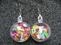 Bubble earrings, multicolored mobile smileys