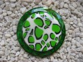 Green and white great resin and fimo ring