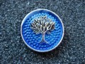 Big Zen ring, Silver tree of life, on blue resin background