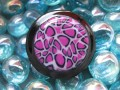 Fushia and black great blue resin and fimo ring