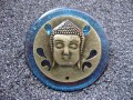Bronze Bouddha blue great resin brooch