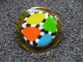 Multicolored great yellow resin and fimo ring