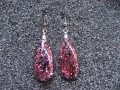 Earrings, water drop shape, plum glitter, resin