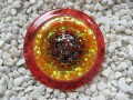 Very large ring, multicolored glitter cabochon, on orange and red, in resin