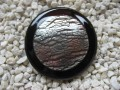 Very large graphic ring, black cabochon and silver, on black resin