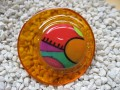 Very very large graphic ring, multicolored cabochon fimo, on orange resin