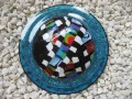 Very very large graphic ring, large multicolored fimo cabochon, on a blue resin background