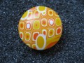 Cabochon ring, yellow / orange gradient, in Fimo
