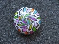 Cabochon ring, white / multicolored spiral, in Fimo