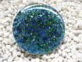 Very large fantasy ring, blue / green microbeads in resin