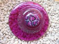 Very very large ring, purple leopard cabochon, on purple resin background