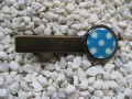 Hair clip, small cabochon, white dots on blue background