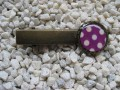 Hair clip, small cabochon, white dots on purple background