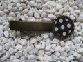 Hair clip, small cabochon, white dots on black
