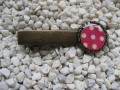 Hair clip, small cabochon, white dots on fuchsia background