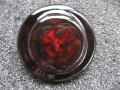 Very very large graphic ring, red cabochon, on black resin