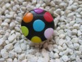 Small pop ring, multicolored polka dots, on black fimo