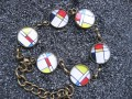 Small cabochon bracelet, Esprit Mondrian, set in resin