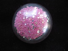 Ring large cabochon, fuchsia/silver microbeads, resin