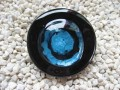 Very large ring, blue spiral glass, on black resin