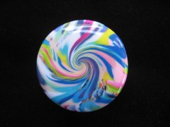 Bague pop, spirale blanche/multicolore, en fimo