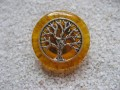 Zen ring, silver tree of life, on orange resin background