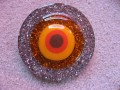 Very very large graphic ring, orange cabochon, on silver resin background