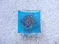 RING square, silver microbeads, on blue resin