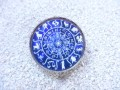 Vintage ring, Zodiac signs on a blue background, set with resin