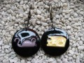 Kawaii earrings, cartoon mouse, on black resin