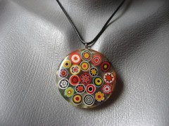 Fancy pendant, opaque multicolored, multi-colored, resin beads
