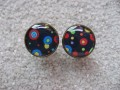 Cufflinks, multicolored polka dots, set in resin