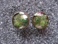 Cufflinks, chartreuse green mother-of-pearl, set in resin