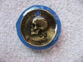 Large ring, bronze skull, on a blue resin background