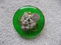Large Steampunk ring, The cogs of time, on a green resin background