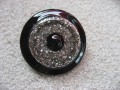 Very large ring, black pearl, on silver and black resin